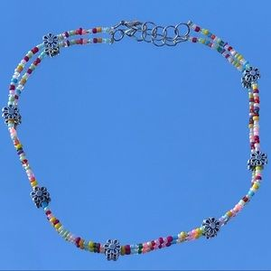 Beaded Choker Necklace with flower accents